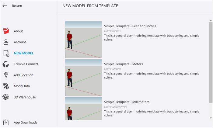 SketchUp Free - Neu Modell Template